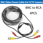4pcs Bnc Video Power Cable Extension Cord 30m 100ft For Security Cctv Camera