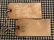 100 Large 4-3/4 X 2-1/4 Primitive Coffee Stained Antique Dealer Hang Tags Lot