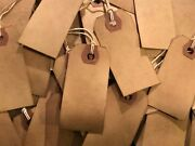 50 Small Primitive Coffee Stained Antique Store Price Hang Tags Lot