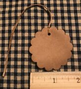 100 Primitive Coffee Stained Large Scallop Flower Antique Store Hang Tags Price