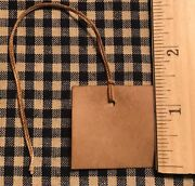 New 100 Primitive Coffee Stained 1-5/8 Square Antique Store Hang Tags Price