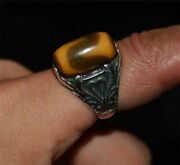 Tibetan Water Wave Dzi Bead Ring Amulet Gzi Tiger Real Agate Ancient Genuine
