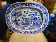 Antique Blue Willow Huge Platter 21in.by16 1/2in.