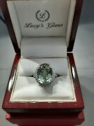 9.38ct Green Amethyst Cocktail Ring 14k White Gold With Diamonds