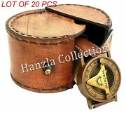 Vintage Style Marine Nautical Brass Wrist Watch Style Sundial Compass With Case