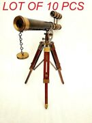 Solid Brass Double Barrel Functional Spyglass Telescope With Tripod Wooden Stand