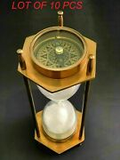 Antique Nautical Brass White Sand Timer Vintage Hourglass Compass Based Decor
