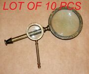 Antique Vintage Henry Hughes Brass 9.5 And 5 Magnifying Glass Magnifier Gift