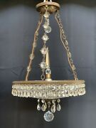 Antique French Art Deco Clear Crystal Glass Chandelier