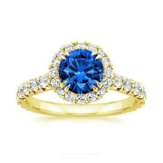 2.55 Ct Natural Sapphire Gemstone Ring 14k Solid Yellow Gold Diamond Rings Size