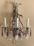 Pair Antique Crystal Macaroni Micro Beaded Amethyst French Wall Sconces 21andrdquo