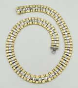 14k Two Tone Gold Reversible Matte/smooth Book Link Necklace 17 56.6g S2051