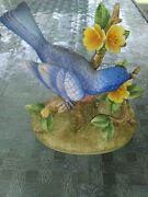 Vintage Bluebird By Andrea By Sadek 8700 Porcelain By Andrea Rare W Wood Base
