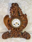 Black Forest Wall Clock Wood Case With Scrolls Flowers Shells And Wing Carvings