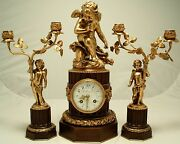 Antique French Clock Garniture. L. Leroy And Cie Paris. Circa 1900 Working Order