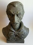 2009 Magic Power Co Halloween Animated Heavy Talking Bust Male Faux Stone