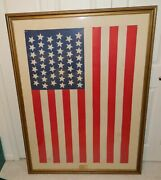 1896 45 Star American Flag Utah Framed Under Glass 47 By 32 No Shipping