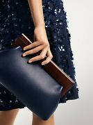 Collections Stanwyck Maritime Blue Leather Wood Clutch Nwt 890