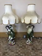 2 Large Antique 1964 Capodimonte Table Lamps With Shade Porcelain Sculpture