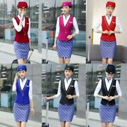 Formal Waistcoat Ladies Suit Steward Vest Business With Skirt And Uniform Pant Set