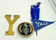 Vintage 1941 Yale Bulldogs Items Letter Y Paperweight, Jacket Badge And Pennant