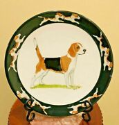 """Gorgeous Hand- Painted Beagle Dog Plate Rim Charger 10.5"""" Signed Zeppa Kent Ct"""
