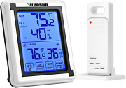 Vivosun Digital Hygrometer Indoor Outdoor Thermometer With Touch Backlight