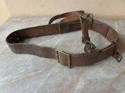 Vtg Old Wwii Ww2 Military German Officer 465and039and039 Double Claw Buckle Leather Belt