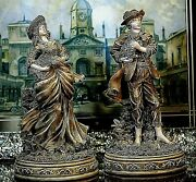 Stunning Vintage Two Figurines - Lady And Gentleman With Dogs - Rare