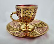 Antique Moser Glass Cup And Saucer, Raised Enamel