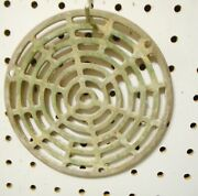 Vintage Cast Brass Flat Floor Drain Cover 6 1/8 X 3/16 Inch With Flange