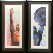 Alex Ross Rare Superman And Captain America Set Paper Giclee Signed New Framed