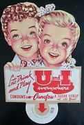 Scarce U And I Diecut Soda Topper Near Mint 1950and039s-60and039s