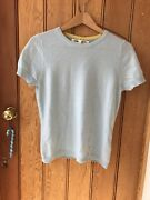 Clements Ribiero Blue Short Sleeved Pure Cashmere Pullover Jumper Top M