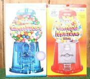 Vintage 1985 Red Die Cast Metal And Blue Acrylic Base 12 Gumball Machines - New
