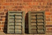 Pair Of Antique European Window Shutters Chippy Green With Hardware