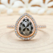 Black Grey Pear Diamond 14k Solid Rose Gold Ring Engagement Gift Ring Kd682