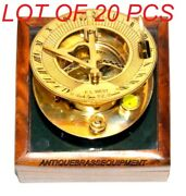 Antique Vintage Maritime Brass 3 Sundial Compass With Wooden Box Collectible