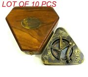 Nautical Antique Brass Triangular Sundial Compass Gilbert And Son With Wooden Box