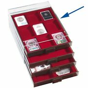 Coin Display Drawer Presentation Box Tray For 9 Certified Graded Slabs Stackable