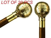 Solid Brass Nautical World Globe Vintage Fold-able Wooden Cane Walking Stick