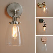 Retro Industrial Rustic Wall Sconce Clear Glass Lampshade Light Fixture W Switch