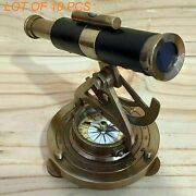Leather Wrapped Brass Antique Alidade Telescope With Compass Marine Collectible