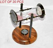 Nautical Antique Vintage Sand Timer With Functional Compass Maritime Table Decor