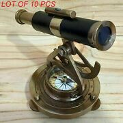 Marine Collectible Leather Wrapped Brass Antique Alidade Telescope With Compass