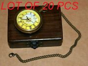 Antique Vintage Marine Marco Polo Brass Pocket Watch With Wooden Glass Box Gift