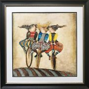 Graciela Rodo Boulanger Holiday On Wheels Lithograph New Framed Art Bicycle