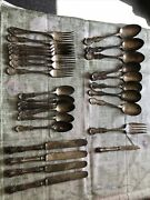 Antique Lot Of 29 Pieces Silverplate R. Wallace 1835 Knives Forks Spoons