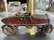 """Vintage 1920's Cast Iron Boat Tail Red Racer / Race Car Hubley, Ac Williams5.5"""""""