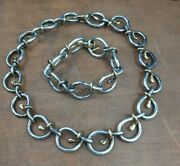 Vintage Tane Mexican Sterling Silver Two Tone Choker Necklace And Bracelet Heavy